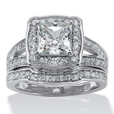 2.50 TCW Princess-Cut Cubic Zicronia 2-Piece Bridal Ring Set in Platinum over Sterling Silver at PalmBeach Jewelry