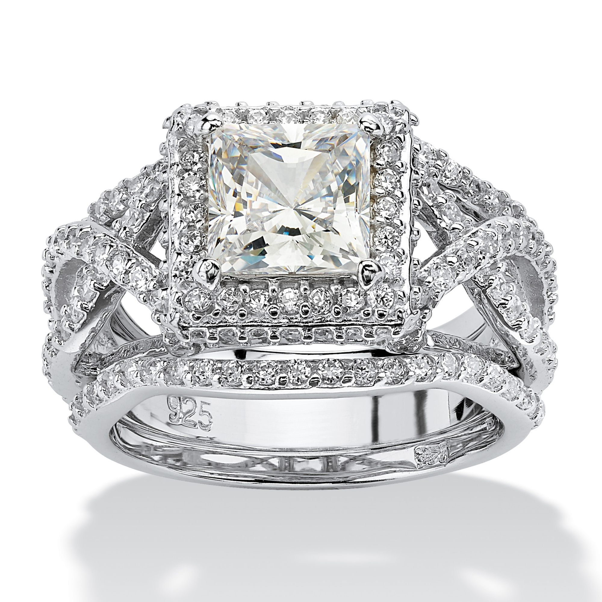 2 82 Tcw Princess Cut Cubic Zirconia Platinum Over Sterling Silver 3 Piece Halo Bridal Ring Set At Palmbeach Jewelry