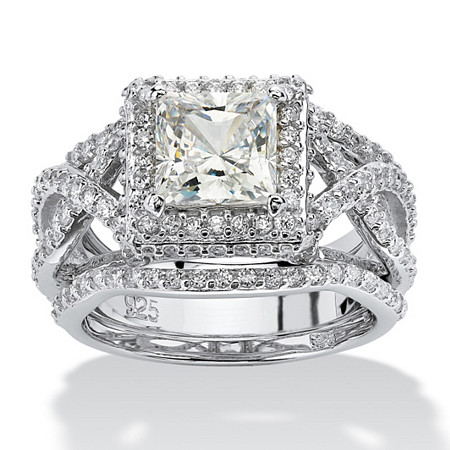 2.82 TCW Princess-Cut Cubic Zirconia Platinum over Sterling Silver 3-Piece Halo Bridal Ring Set at PalmBeach Jewelry