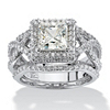 Related Item 2.82 TCW Princess-Cut Cubic Zirconia Platinum over Sterling Silver 3-Piece Halo Bridal Ring Set