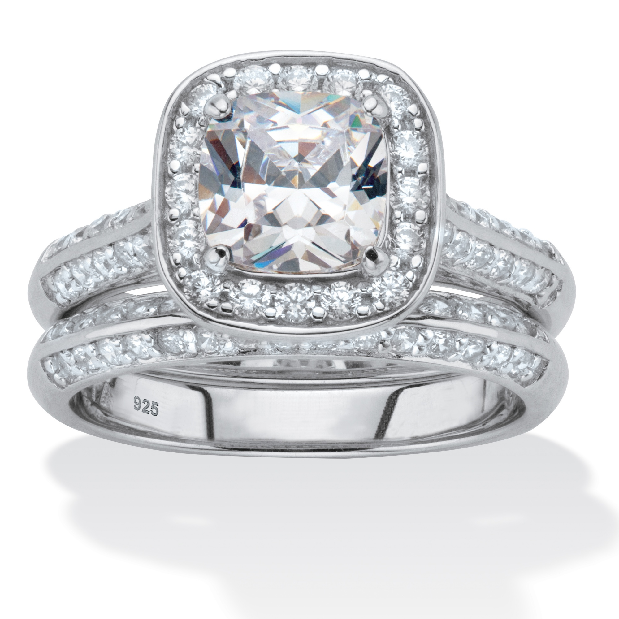 2 66 Tcw Round White Cubic Zirconia 2 Piece Halo Bridal: 2.08 TCW Cushion-Cut Cubic Zirconia Platinum Over .925