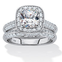 2.08 TCW Cushion-Cut Cubic Zirconia Platinum over .925 Silver 2-Piece Halo Bridal Ring Set