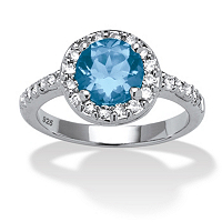 Round Simulated Birthstone And CZ Halo Ring In Sterling Silver