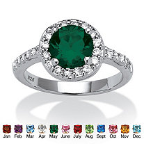 SETA JEWELRY Round Simulated Birthstone and Cubic Zirconia Halo Ring in Sterling Silver
