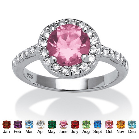 Round Simulated Birthstone and Cubic Zirconia Halo Ring in Sterling Silver at PalmBeach Jewelry