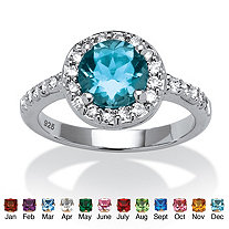 Round Simulated Birthstone and Cubic Zirconia Halo Ring in Sterling Silver