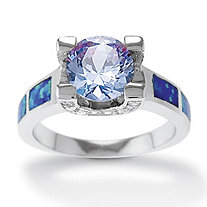 1.83 TCW Simulated Tanzanite, Cubic Zirconia and Blue Opal Ring in Sterling Silver
