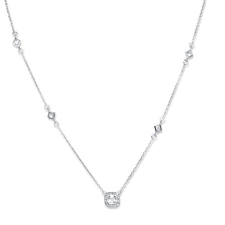 1.22 TCW Square Cubic Zirconia Station Necklace in Sterling Silver at PalmBeach Jewelry