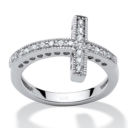 .30 TCW Cubic Zirconia Horizontal Cross Ring in Sterling Silver at PalmBeach Jewelry