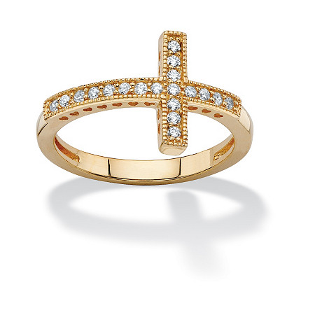 .30 TCW Cubic Zirconia Horizontal Cross Ring in 14k Gold over Sterling Silver at PalmBeach Jewelry