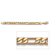 "Men's Figaro-Link Bracelet in Yellow Gold Tone 10"" (11mm)"