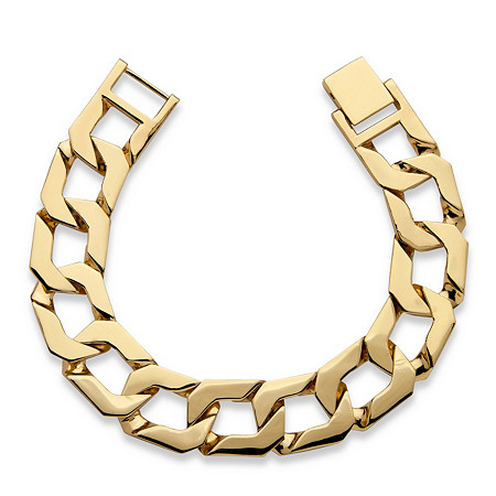 Men's Curb-Link Chain Bracelet 18k Gold-Plated 10
