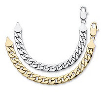 "Men's Curb-Link Bracelet BOGO Set - Buy Yellow Gold Tone, Get Silvertone FREE! 10"" (12mm)"
