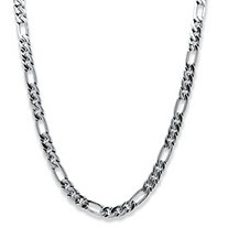 "Men's Figaro-Link Chain Necklace in Silvertone 30"" (10.5mm)"