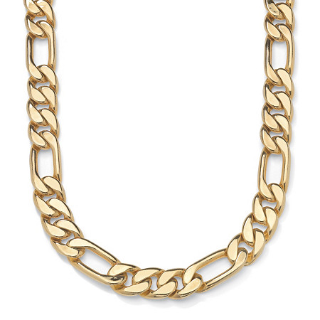 Men's Figaro-Link Chain Necklace in Yellow Gold Tone 30