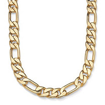 "Men's Figaro-Link Chain Necklace in Yellow Gold Tone 30"" (9mm)"