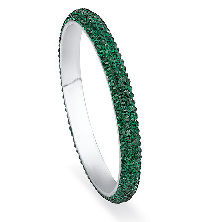 Green Pave Crystal Bangle Bracelet in Stainless Steel at PalmBeach Jewelry