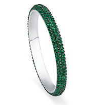 Green Pave Crystal Bangle Bracelet in Stainless Steel