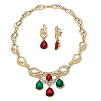 2 Piece Jewel-Tone Crystal Jewelry Set In Yellow Gold Tone ONLY $11.99