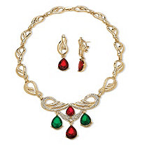 2 Piece Jewel-Tone Crystal Jewelry Set in Yellow Gold Tone