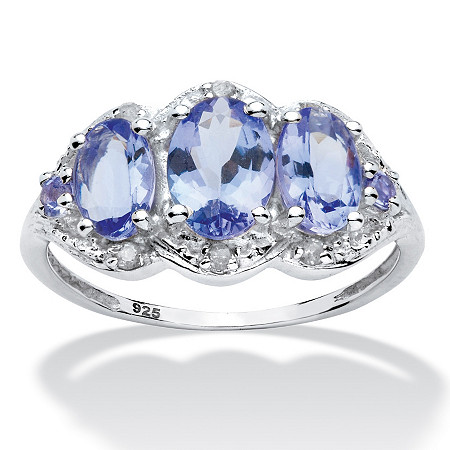 1.98 TCW Oval Tanzanite and Diamond Ring in Platinum over Sterling Silver at PalmBeach Jewelry