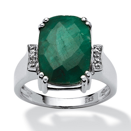 4.68 TCW Cushion-Cut Emerald and White Topaz Accented Ring in Platinum over Sterling Silver at PalmBeach Jewelry