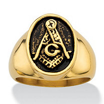 Men's Oval Antiqued Gold Ion-Plated Stainless Steel Masonic Ring