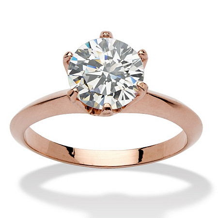 2 Carats Cubic Zirconia Solitaire Ring in Rose Gold-Plated at PalmBeach Jewelry