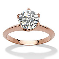 2 Carats Cubic Zirconia Solitaire Ring in Rose Gold-Plated