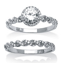 1.26 TCW Round Cubic Zirconia Halo Twist Bridal Ring 2-Piece Set in Platinum over Sterling Silver