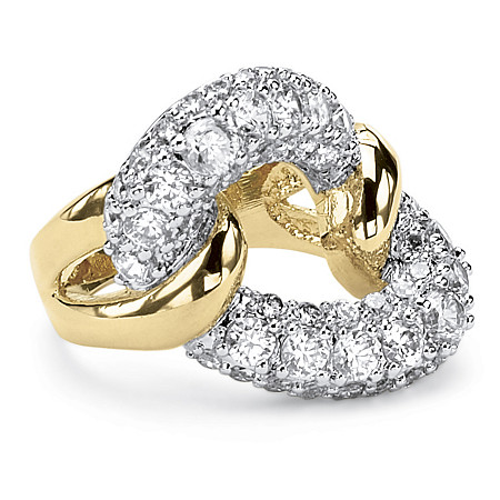 2.95 TCW Cubic Zirconia Link Ring in 14k Gold-Plated at PalmBeach Jewelry