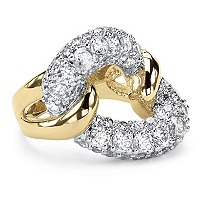 2.95 TCW Cubic Zirconia Link Ring In 14k Gold-Plated ONLY $16.99