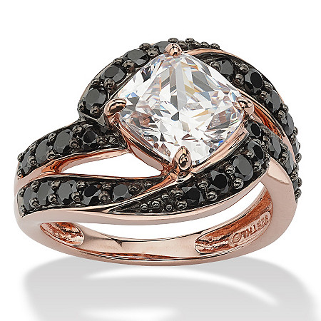 2.45 TCW Cushion-Cut Cubic Zirconia and Black Cubic Zirconia Ring in Rose Gold over Sterling Silver at PalmBeach Jewelry