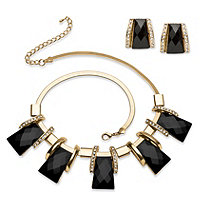 Checkerboard-Cut Black Crystal Vintage-Inspired Necklace and Earring Set in Gold Tone 18