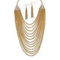 SETA JEWELRY 2 Piece Multi-Chain Jewelry Necklace and Earrings Set in Yellow Gold Tone
