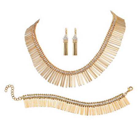Crystal Accent 3-Piece Fringe Earrings, Necklace and Bracelet Set in Yellow Gold Tone 17