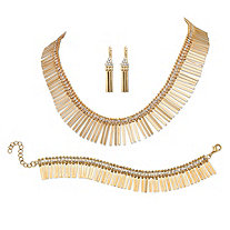 SETA JEWELRY Crystal Accent 3-Piece Fringe Earrings, Necklace and Bracelet Set in Yellow Gold Tone 17