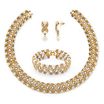 "Simulated Pearl and Crystal 3-Piece ""X"" Necklace, Earrings and Bracelet Set in Yellow Gold Tone 18"""