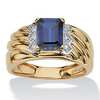 SETA JEWELRY Men's 1.90 TCW Emerald-Cut Sapphire and Diamond Accent Ring in 18k Gold over Sterling Silver