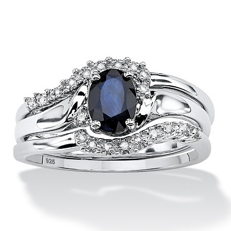 3 Piece 1.05 TCW Oval Sapphire and Diamond Accent Bridal Ring Set in Platinum over Sterling Silver at PalmBeach Jewelry