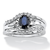 SETA JEWELRY 3 Piece 1.05 TCW Oval Sapphire and Diamond Accent Bridal Ring Set in Platinum over Sterling Silver
