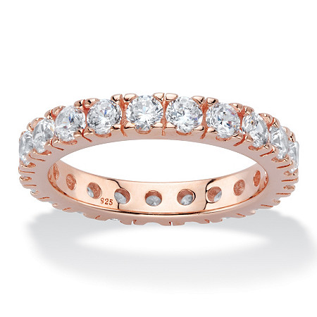 2 TCW Round Cubic Zirconia Rose Gold over .925 Sterling Silver Eternity Band at PalmBeach Jewelry