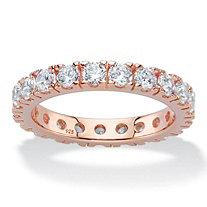 2 TCW Round Cubic Zirconia Rose Gold over .925 Sterling Silver Eternity Band