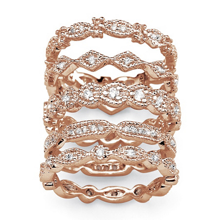 1.55 TCW Cubic Zirconia Five-Piece Eternity Band Set in Rose Gold-Plated at PalmBeach Jewelry