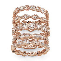 SETA JEWELRY 1.55 TCW Cubic Zirconia Five-Piece Eternity Band Set in Rose Gold-Plated