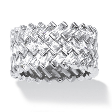 9.66 TCW Cubic Zirconia Baguette Chevron Ring in Platinum over Sterling Silver at PalmBeach Jewelry