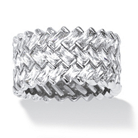 Cubic Zirconia Baguette Chevron Ring In Platinum Over Sterling Silver ONLY $79.96