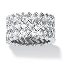 SETA JEWELRY 9.66 TCW Cubic Zirconia Baguette Chevron Ring in Platinum over Sterling Silver