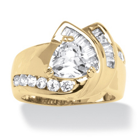 3.34 TCW Cubic Zirconia Ring in 14k Gold-Plated at PalmBeach Jewelry