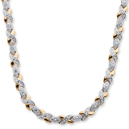 1/5 TCW Diamond X and O Necklace in 18k Gold-Plated at PalmBeach Jewelry